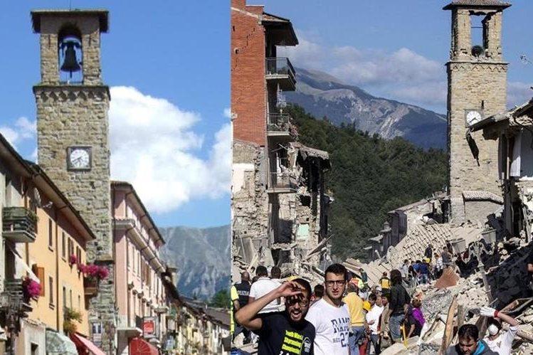 El antes y después de la icónica torre del reloj de Amatrice, Italia, que muestra la magnitud del daño causado por el terremoto. (Foto izq. tomada del sitio: supernoticiasd.com. Foto der. AP).
