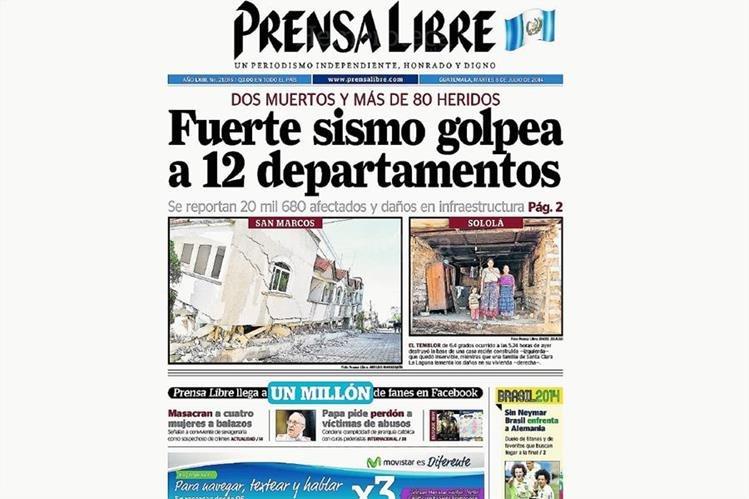 Portada del 8 de julio de 2014, cuyo titular destaca el sismo del día anterior. (Foto: Hemeroteca PL)