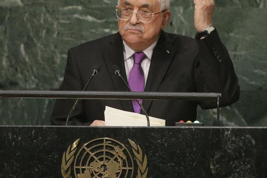 El líder palestino, Mahmud Abás, pronuncia su discurso durante el debate de alto nivel de la Asamblea General de la ONU en Nueva York. (Foto Prensa Libre: EFE).