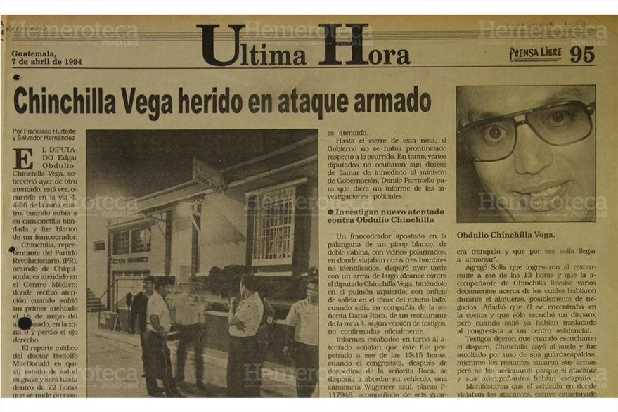 El 7/4/1994 Prensa Libre  daba a conocer que  Chinchilla Vega se había salvado nuevamente  de un atentado armado. ( Foto: Hemeroteca PL)