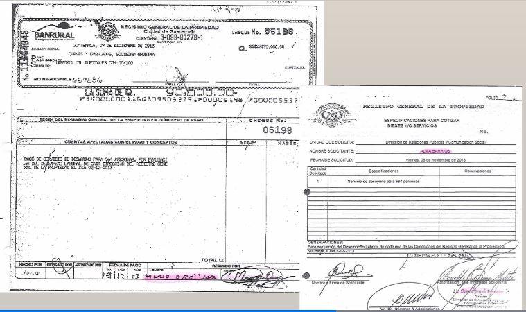 Facturas que evidencian el pago a la empresa Fulanos y Menganos por la compra de alimentos para una actividad que no se efectuó. (Foto Prensa Libre: Cicig)