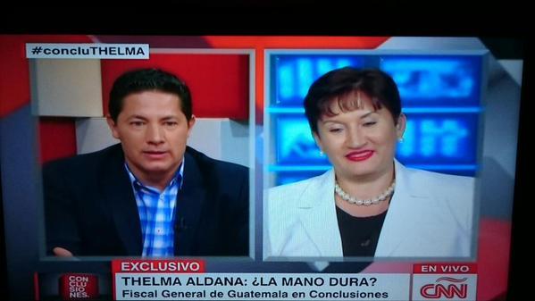 La Fiscal General Thelma Aldana en entrevista con la cadena de noticias internacional CNN.