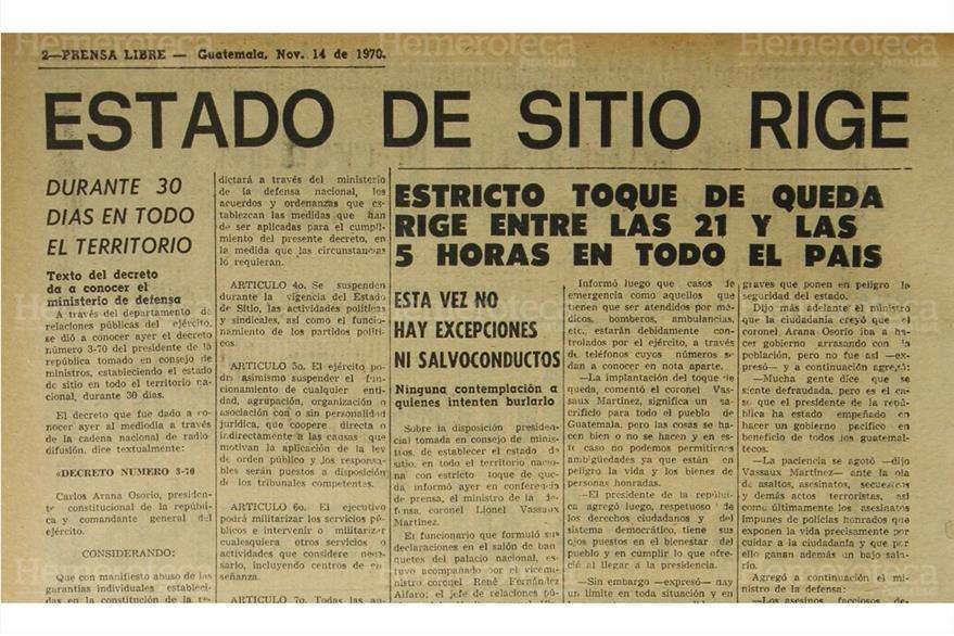 14/11/1970 Publicación de Prensa Libre, daba a conocer sobre  el decreto  del estado de sitio. (Foto: Hemeroteca PL)