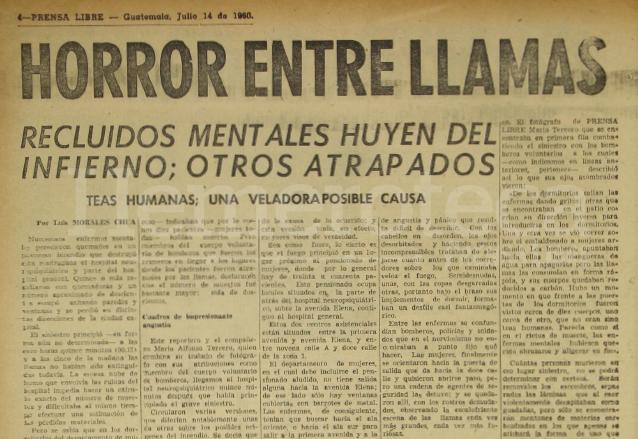 Nota informativa de Prensa Libre sobre el incendio del manicomio el 14 de julio de 1960. (Foto: Hemeroteca PL)