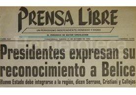 Titular de Prensa Libre del 31 de octubre de 1992. (Foto: Hemeroteca PL)