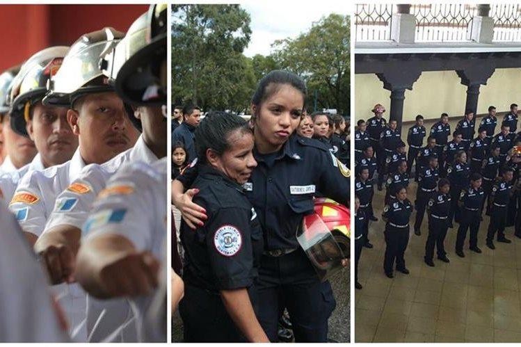 Bomberos Voluntarios, Municipales y Municipales Departamentales festejaron graduaciones. (Foto Prensa Libre: E Bercián y BMD)