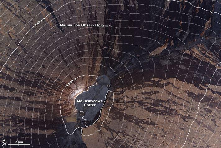 El registro continuo más largo de los niveles de dióxido de carbono atmosférico (1958-presente) proviene del Observatorio de Mauna Loa en Hawái. (Foto: earthobservatory.nasa.gov).