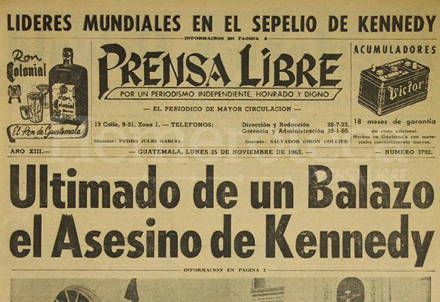 Titular de la portada del 25 de noviembre de 1963. (Foto: Hemeroteca PL)