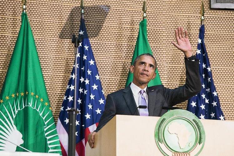El presidente de EEUU, Barack Obama como él pronuncia un discurso en la sede de la Unión Africana en Addis Abeba. (Foto Prensa Libre:AFP).