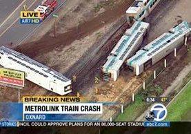 Los vagones del tren quedaron separados después del accidente.