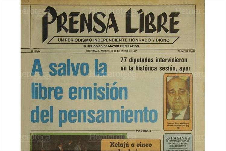 Portada del 16 de enero de 1985 en donde el pleno de la asamblea nacional aprobaba la libre emisión del pensamiento. (Foto: Hemeroteca PL).