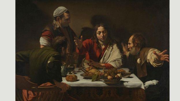 """""""Los discípulos de Emaús"""" muestra cómo Caravaggio usaba la luz para comunicar drama. GALERÍA DE ARTE NACIONAL DE LONDRE"""