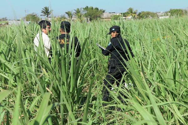 Agentes de  la PNC examinan el lugar en donde hallaron el cadáver de un transportista, en la cabecera de Escuintla. (Foto Prensa Libre: Carlos Paredes)