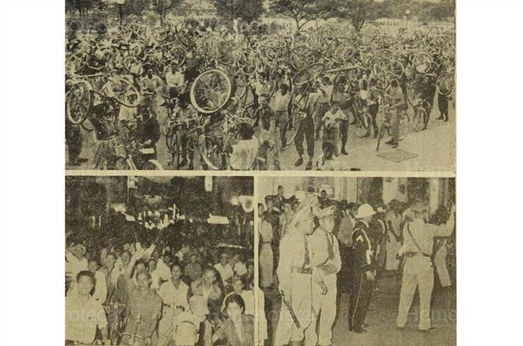 Una ruidosa manifestación de ciclistas realizada  el 27 de abril de 1956. (Foto: Hemeroteca PL)