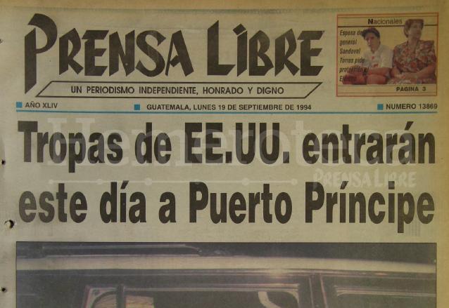 Titular de Prensa Libre del 19 de septiembre de 1994. (Foto: Hemeroteca PL)