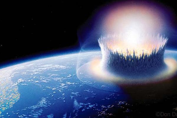 <p>Simulación de impacto de asteroide contra el océano</p>