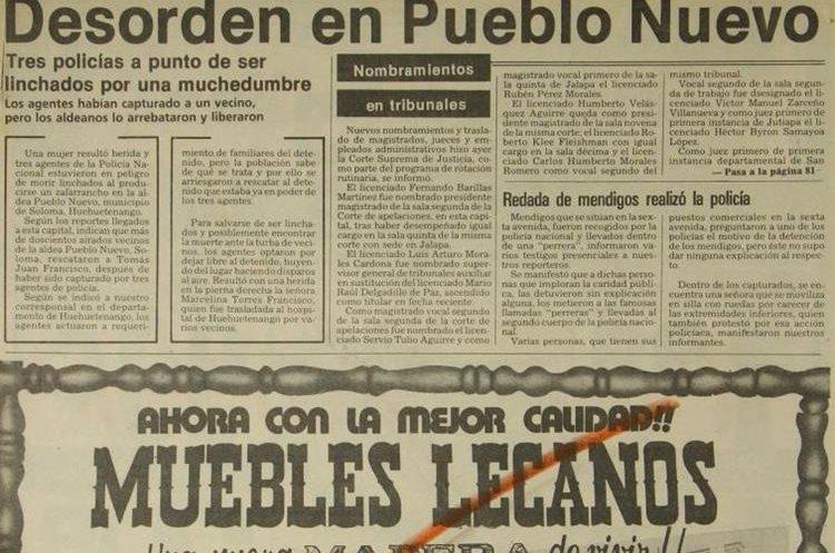 En la aldea Pueblo Nuevo, Soloma, Huehuetenango, un grupo intentó linchar a tres policías por capturar a un vecino, el 18 de marzo de 1981.