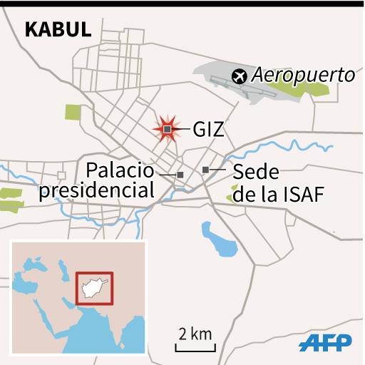 Mapa de Kabul, Afganistán, con localización del secuestro de la ciudadana alemana. (Infografía: AFPES).