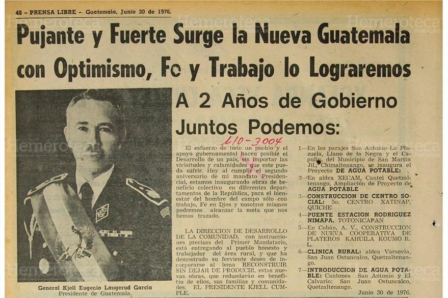 """""""Juntos podemos"""" era otra frase utilizada por Laugerud García para animar a los guatemaltecos a superar la tragedia. (Foto: Hemeroteca PL)"""