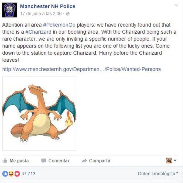 La policía de New Hampshire, en Manchester, le da la bienvenida a ciertos jugadores de Pokémon Go. (FACEBOOK).