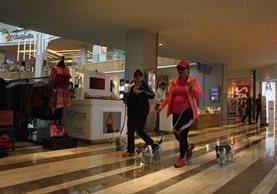 En centro comercial Parque Las Américas, las personas pueden caminar con sus mascotas en los pisos uno y dos. (Foto Prensa Libre: Eduardo González)