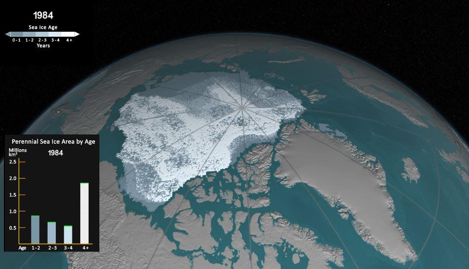 Así lucía el hielo del Ártico en 1984, según la Nasa. (Foto tomada del sitio: www.nasa.gov).