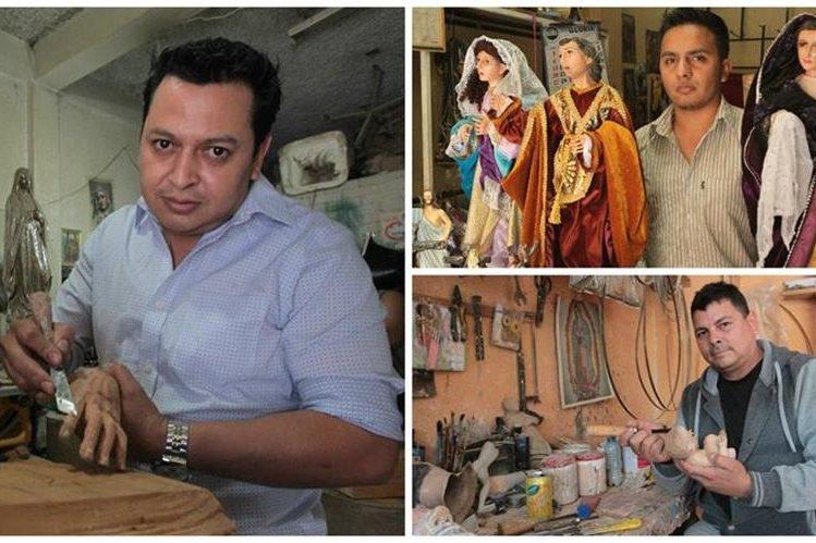 Artistas cuentan su labor escultórica que heredaron de los grandes maestros. (Foto Prensa Libre: Ángel Elías)
