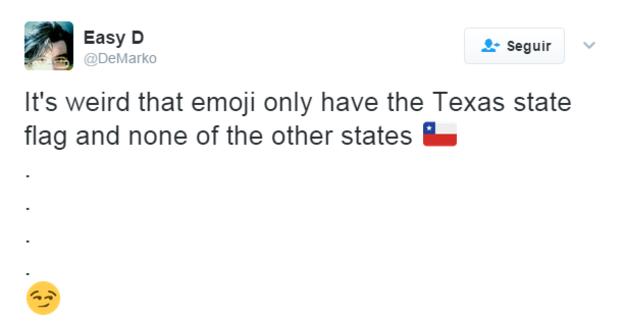 """""""Es extraño que emoji sólo tiene la bandera del estado de Texas y de ninguno de los otros estados"""", dice un tuit irónico. TWITTER"""