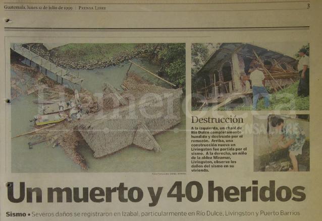 Detalle de la nota informativa del 12 de julio de 1999 sobre los daños del sismo en Izabal.  (Foto: Hemeroteca PL)