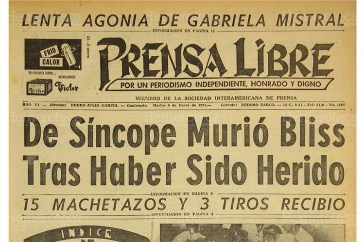 Portada del 08/01/1957 en la que Prensa Libre a a conocer sobre la lenta agonía de Gabriela Mistral. (Foto: Hemeroteca PL)