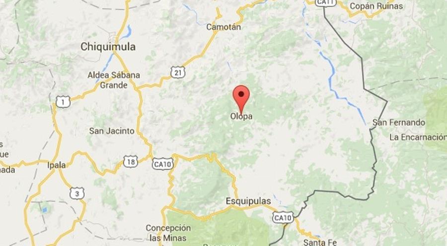 Mapa de Olopa, Chiquimula, donde ocurrió el delito. (Foto Prensa Libre: Google Maps).