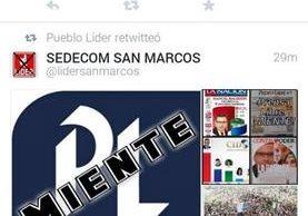 En redes sociales el partido LÍDER atacó ayer a Prensa Libre.