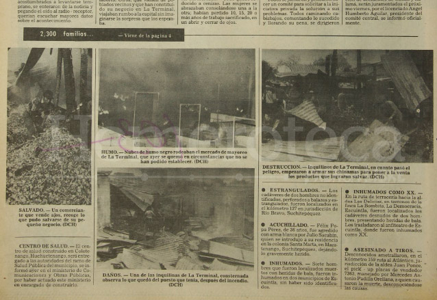 Nota periodística que ilustraba aspectos de cómo quedó el mercado La Terminal luego del incendio. (Foto: Hemeroteca PL)