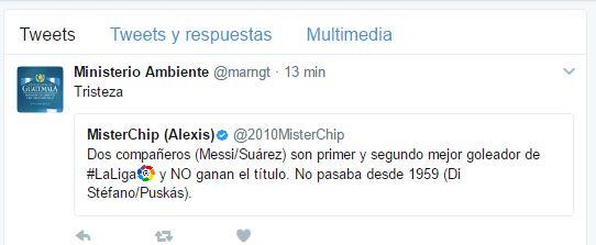 El administrados de la cuenta del Ministerio de Ambiente retuiteo un mensaje donde se habla del título de goleo de Messi.