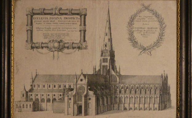 Un grabado de la vieja catedral de San Pablo, construida en 1087. (THE CHAPTER OF ST PAUL'S CATHEDRAL)