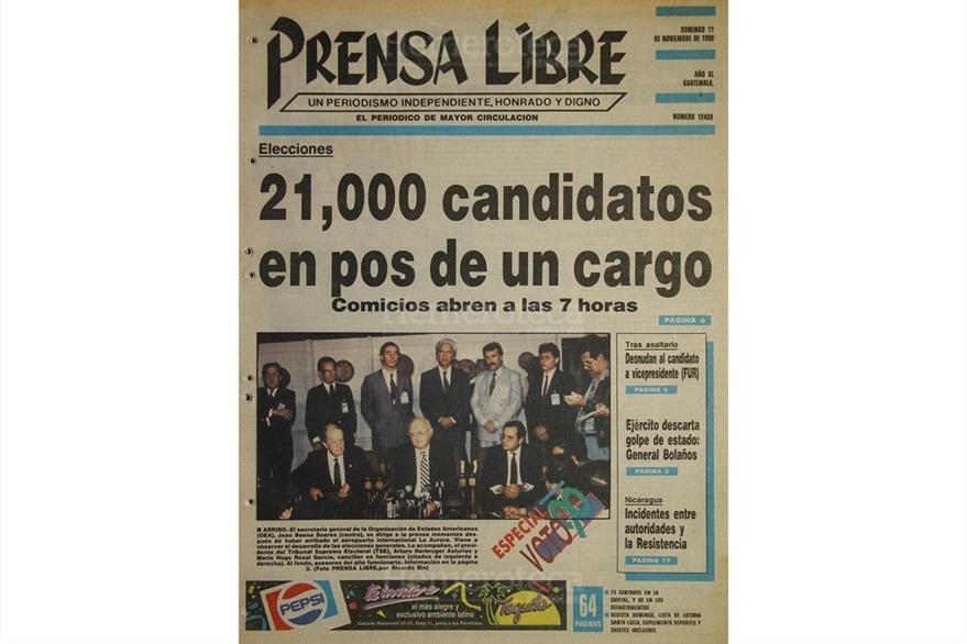 Portada del 11 de noviembre de 1990, día de comicios generales en Guatemala. (Foto: Hemeroteca PL)