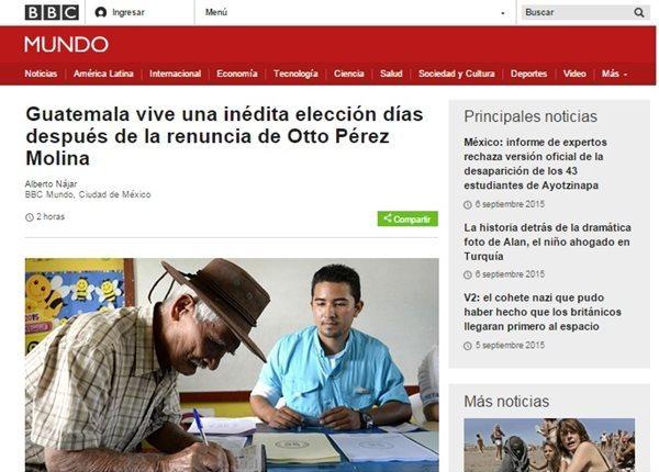 La BBC Mundo hace referencia a la coyuntura política que vive el país, luego de la renuncia de Otto Pérez Molina como presidente. (Foto Prensa Libre: Internet)