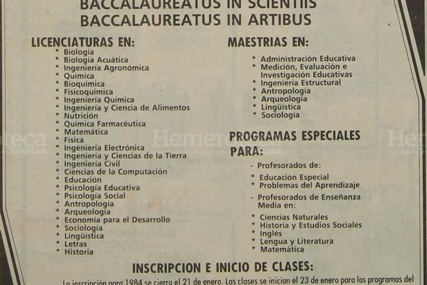 Oferta académica de la Universidad del Valle de Guatemala en 1984. (Foto: Hemeroteca PL).