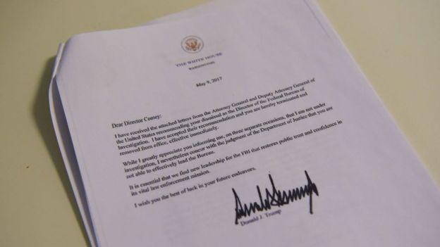 En la carta de despido de Comey, Trump afirma que la medida es necesaria para restablecer la confianza pública en el FBI. GETTY IMAGES