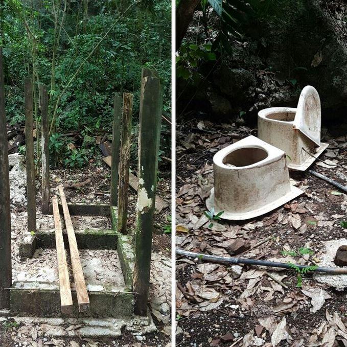 Puentes y baños resultaron dañados por la toma de comunitarios. (Foto Prensa Libre: Conap)