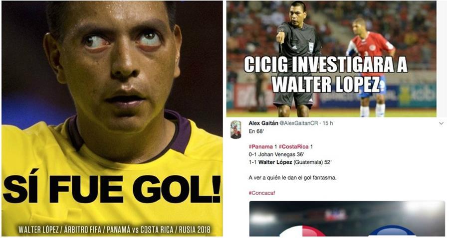 Las críticas de los internautas contra Wálter López han sido fuertes por la jugada polémica del primer gol de Panamá. (Foto Prensa Libre: Redes)