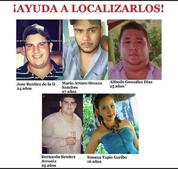 Los cinco jóvenes que se encuentran desaparecidos en Veracruz, México. (Foto Prensa Libre: EFE).