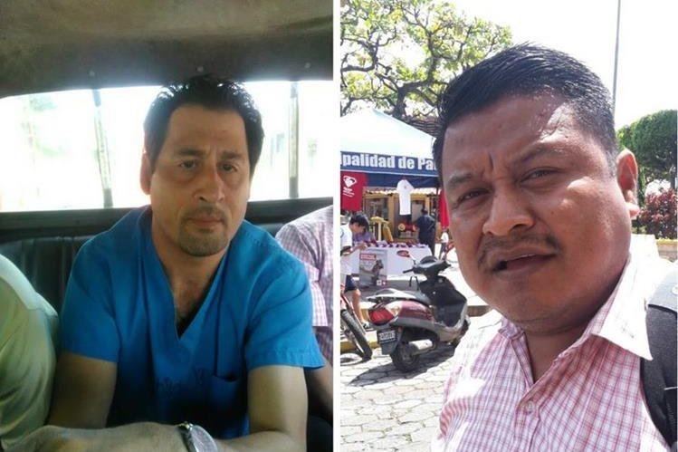 El médico Ángel Raciel Vásquez Reyes (izquierda) y el concejal Héctor Obdulio Hernández Sarat, capturados en Patulul. (Foto Prensa Libre: Melvin Popá)