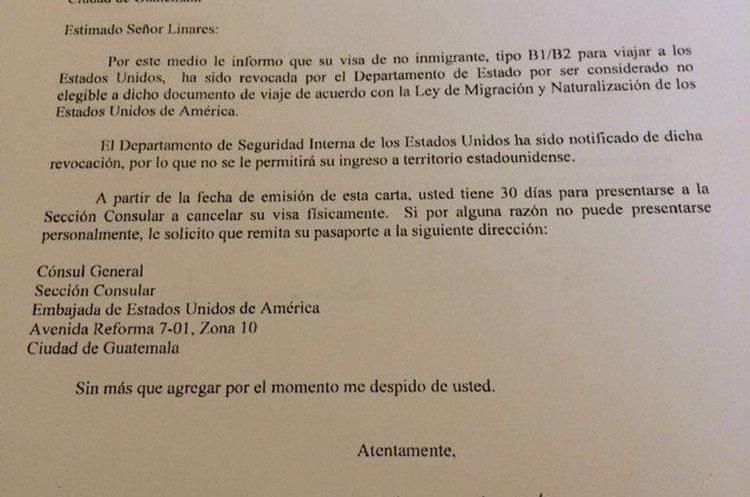 La embajada de los Estados Unidos en Guatemala, notificó al diputado sobre la cancelación de la visa.(Foto Prensa Libre)