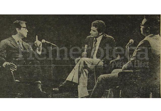El recordado programa Estudio Abierto en 1976 donde debatieron los candidatos presidenciales, Manuel Colom Argueta y Alejandro Maldonado Aguirre, este último llegó a ser presidente interino en el año 2015. (Foto: Hemeroteca PL)