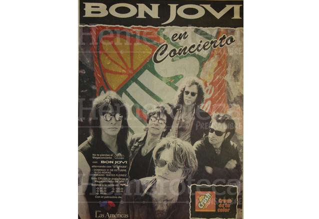 Publicidad anunciando el concierto de la banda de rock Bon Jovi en octubre de 1993. (Foto: Hemeroteca PL)