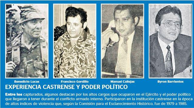 Barrientos, a la derecha, junto a tres militares más implicados en crímenes en la base de Cobán. (Foto: Hemeroteca PL)