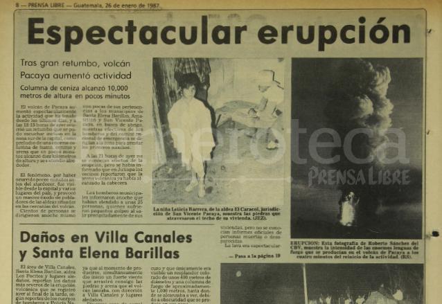 Nota periodística informando sobre la erupción del Volcán de Pacaya el 25 de enero de 1987. (Foto: Hemeroteca PL)