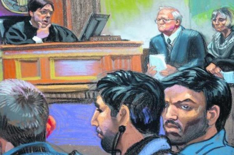 Foto artística de la audiencia de Efraín Antonio Campo Flores y Franqui Francisco Flores de Freitas en Nueva York.(AP).