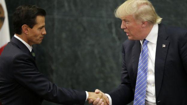 Enrique Peña Nieto y Donald Trump se encontraron por primera vez en México en agosto de 2016, en plena campaña electoral estadounidense. AFP